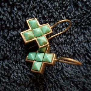 Sterling silver and Turquoise Cross earrings